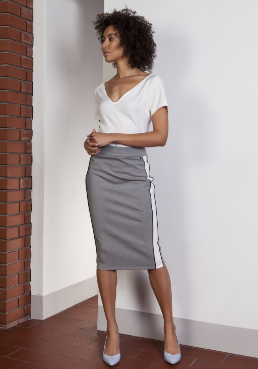 Pencil midi skirt with stripes, SP117 gray