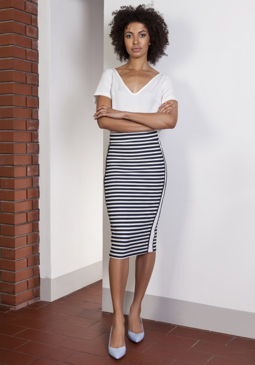 Pencil midi skirt with stripes, SP117 stripes