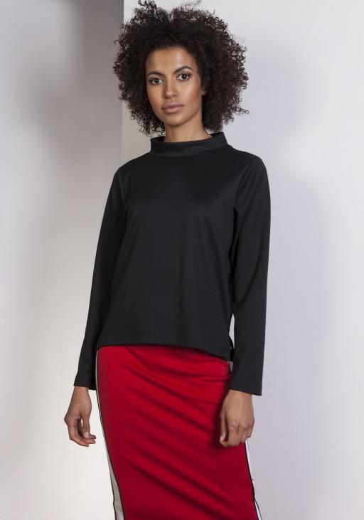 Bluza z dłuższym tyłem, BLU139 czarny