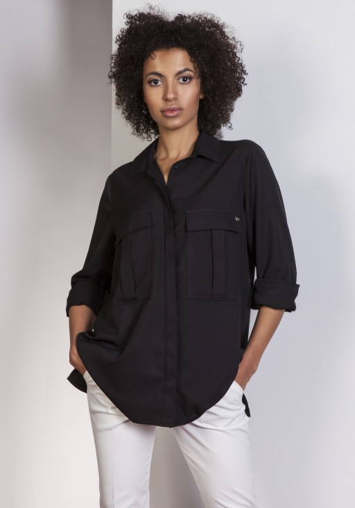 Koszula oversize, K108 czarny