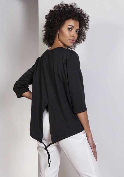 Luźna bluzka – frak, BLU140 czarny