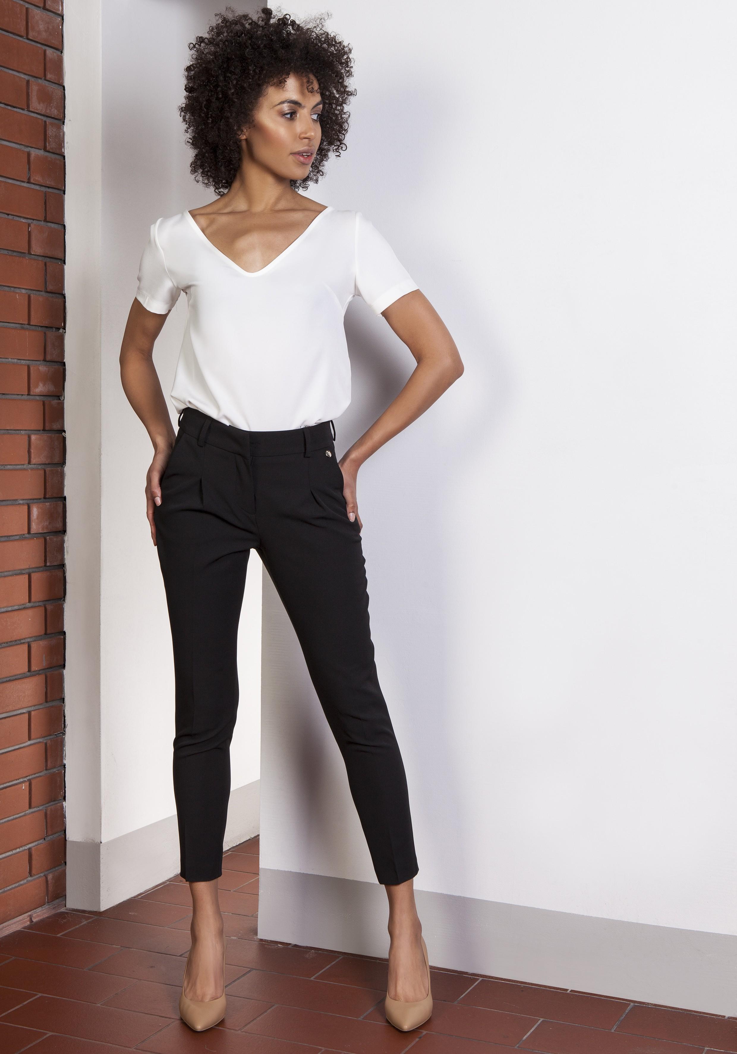 Spodnie cygaretki, SD115 czarny Lanti