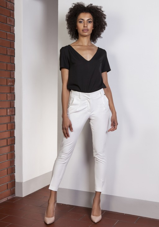 Trousers with high-waisted, SD115 ecru