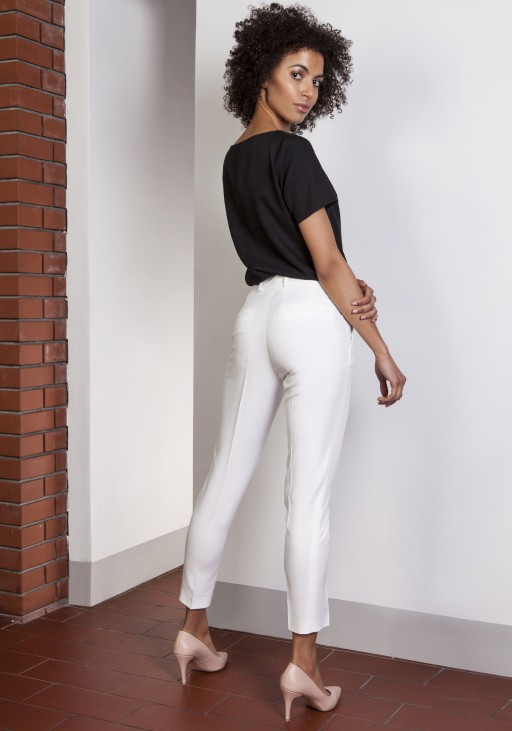 Spodnie cygaretki, SD115 ecru