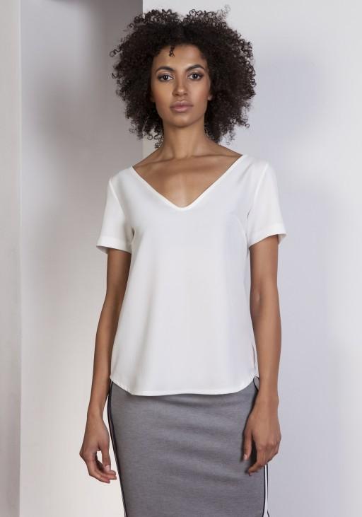 V-neck blouse, BLU141 ecru