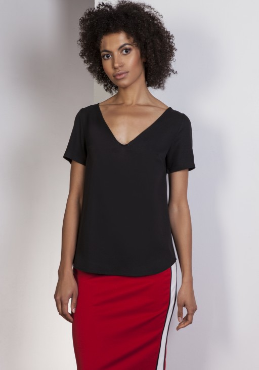 V-neck blouse, BLU141 black