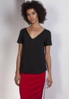 V-neck blouse, BLU141 black