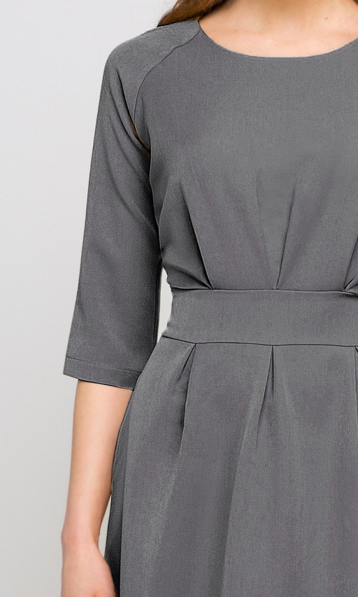 Sukienka z rozkloszowanym dołem, SUK122 grafit