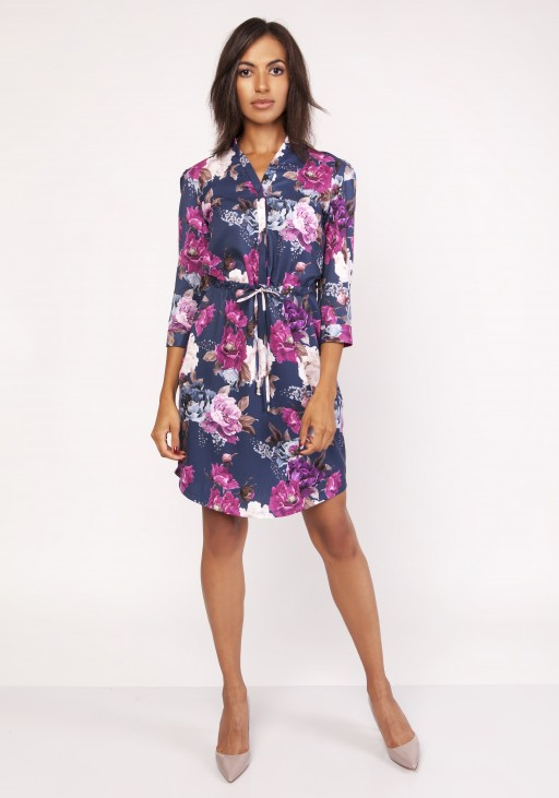 Dress with a delicate stand-up collar, SUK153 flowers