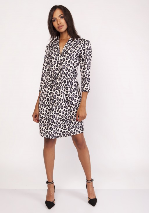 Dress with a delicate stand-up collar, SUK153 panther