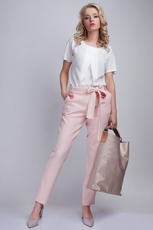 Spodnie z szarfą, SD109 róż