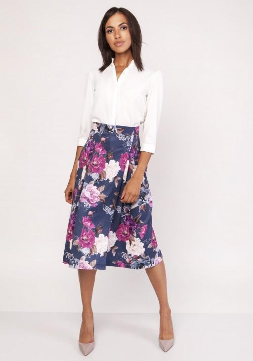 Rozkloszowana spódnica za kolano, SP119 kwiaty
