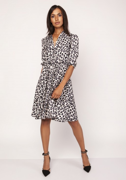 Dress with a flared bottom, SUK155 panther
