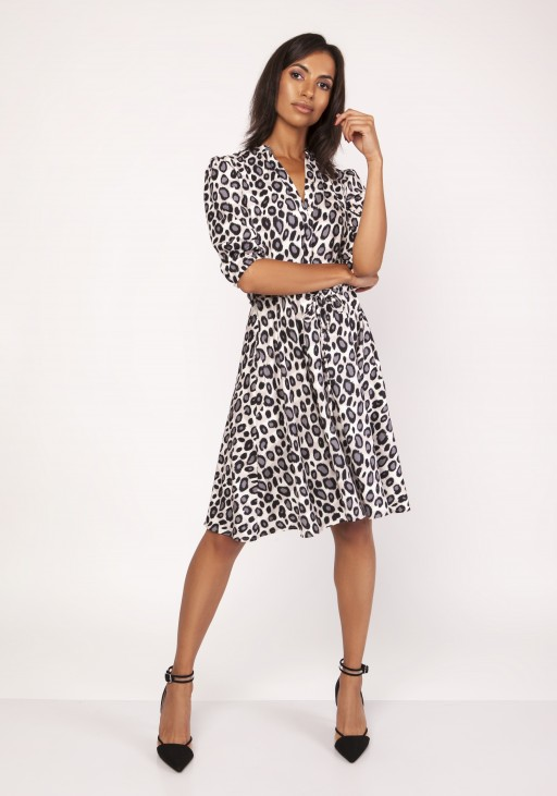 Sukienka o rozkloszowanym dole, SUK155 panterka