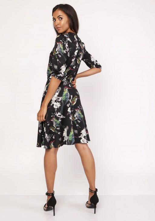 Dress with a flared bottom, SUK155 birds