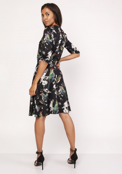 Sukienka o rozkloszowanym dole, SUK155 ptaki