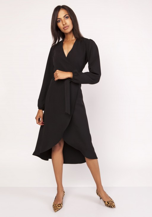 Asymmetrical, envelope dress, SUK160 black