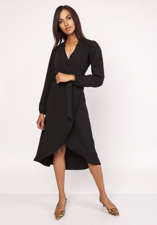 Asymetryczna, kopertowa sukienka, SUK160 czarny