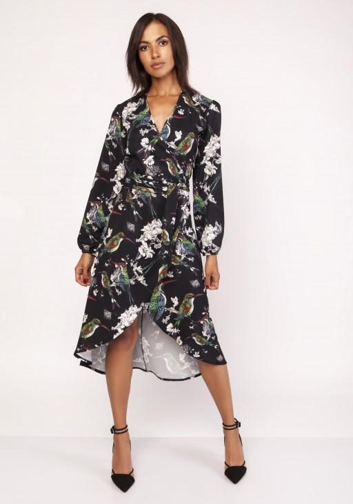 Asymmetrical, envelope dress, SUK161 birds