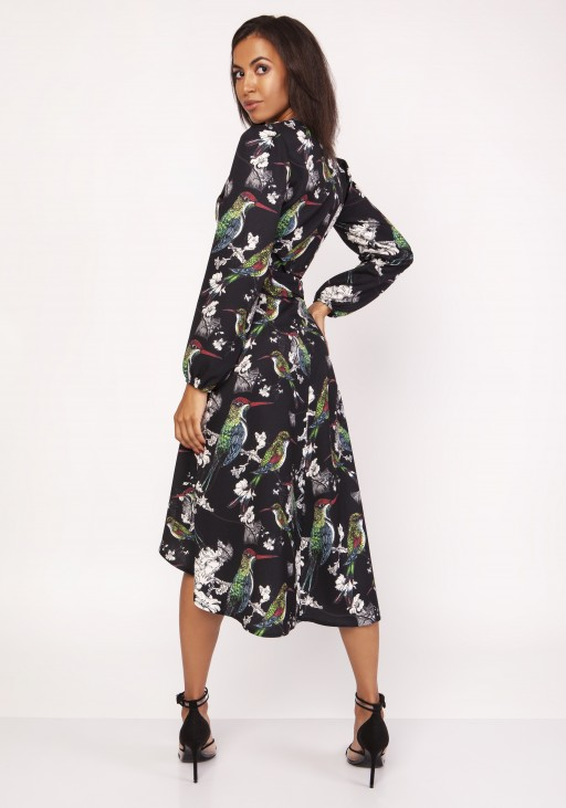 Asymmetrical, envelope dress, SUK161 birds