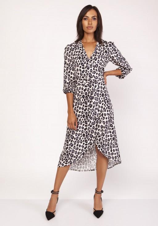 Asymmetrical, envelope dress, SUK161 panther