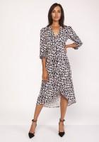 Asymetryczna, kopertowa sukienka, SUK161 panterka