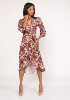 Asymetryczna, kopertowa sukienka, SUK161 wzór