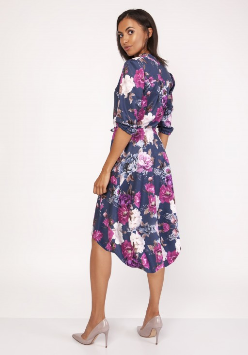 Asymmetrical, envelope dress, SUK161 flowers