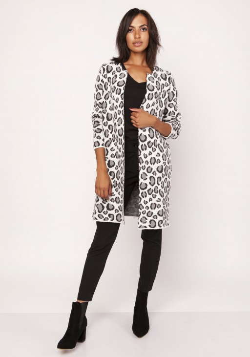 Long cardigan with a leopard pattern, SWE113 leopard gray