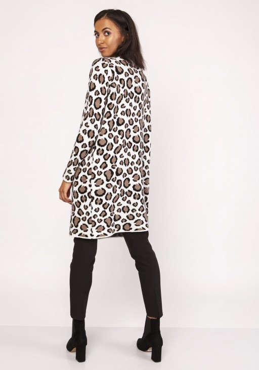 Long cardigan with a leopard pattern, SWE113 panther beige