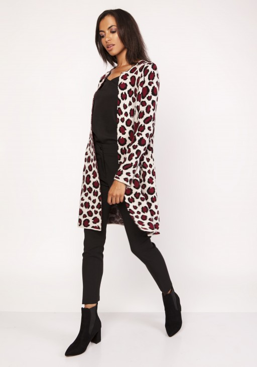 Long cardigan with a leopard pattern, SWE113 panther burgundy