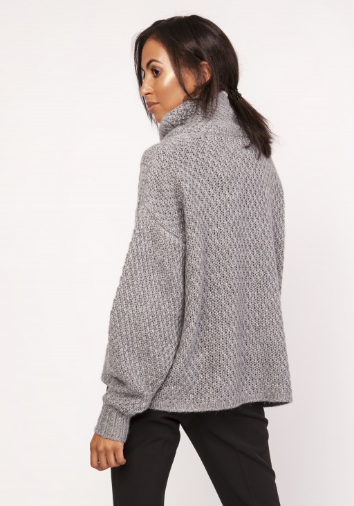 Ciepły sweter z warkoczem, SWE115 grafit