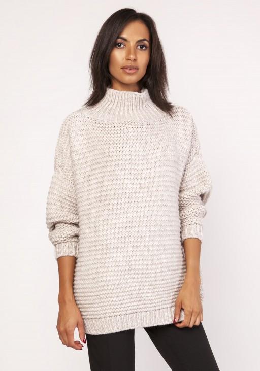 Fashionable turtleneck sweater, SWE116 beige