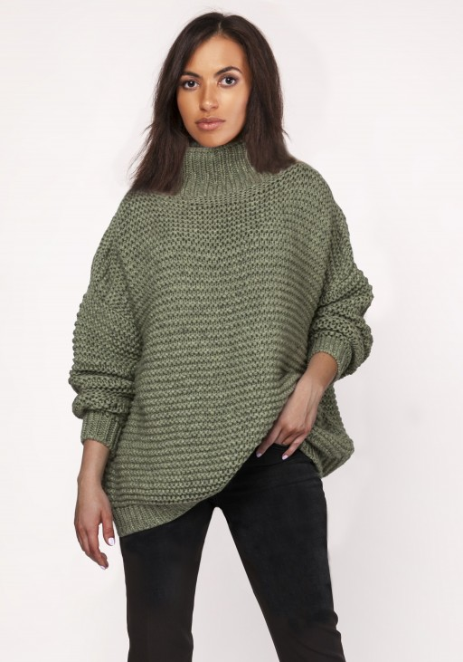 Fashionable turtleneck sweater, SWE116 green