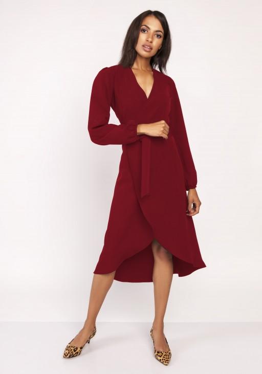 Asymetryczna, kopertowa sukienka, SUK160 bordo