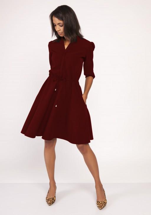 Sukienka o rozkloszowanym dole, SUK156 bordo