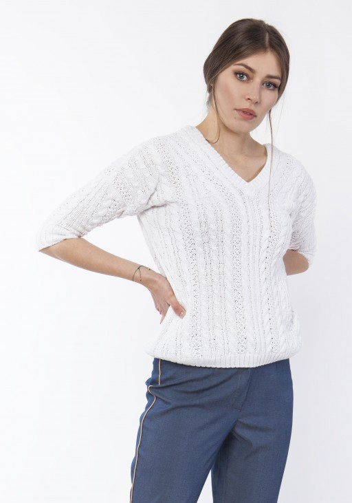 Sweater with braids, SWE117 ecru