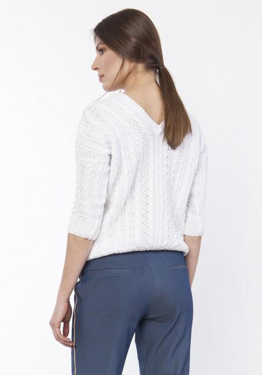 Sweter z warkoczami, SWE117 ecru