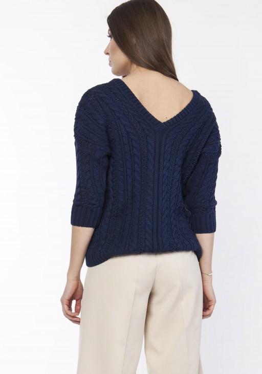 Sweter z warkoczami, SWE117 granat
