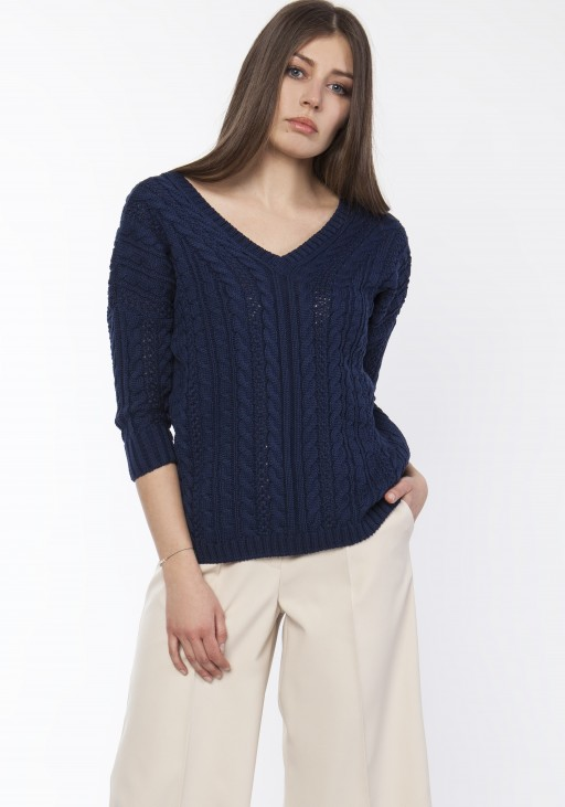 Sweater with braids, SWE117 navy