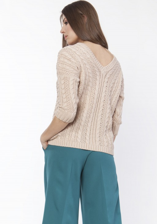 Sweater with braids, SWE117 beige