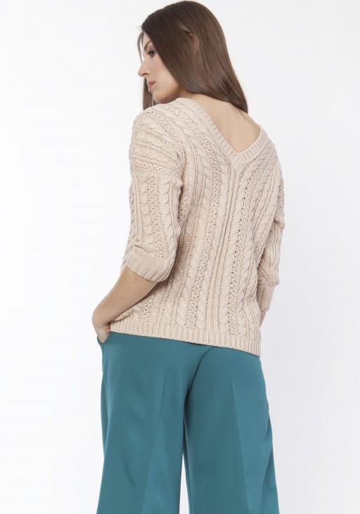Sweter z warkoczami, SWE117 beż