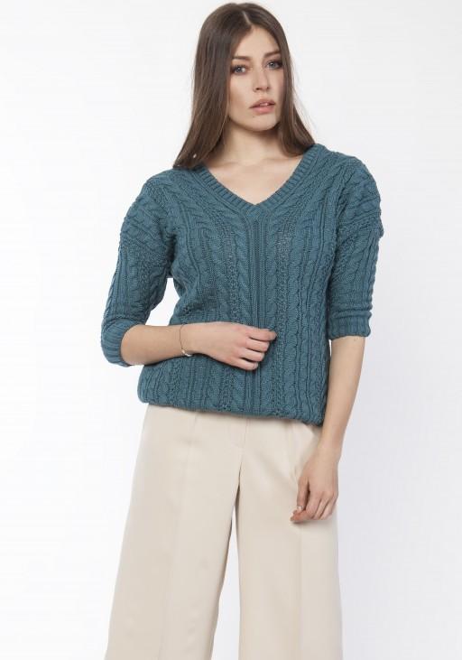 Sweater with braids, SWE117 emerald green