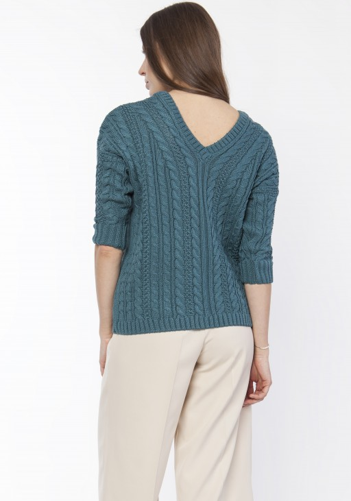 Sweater with braids, SWE117 emerald green