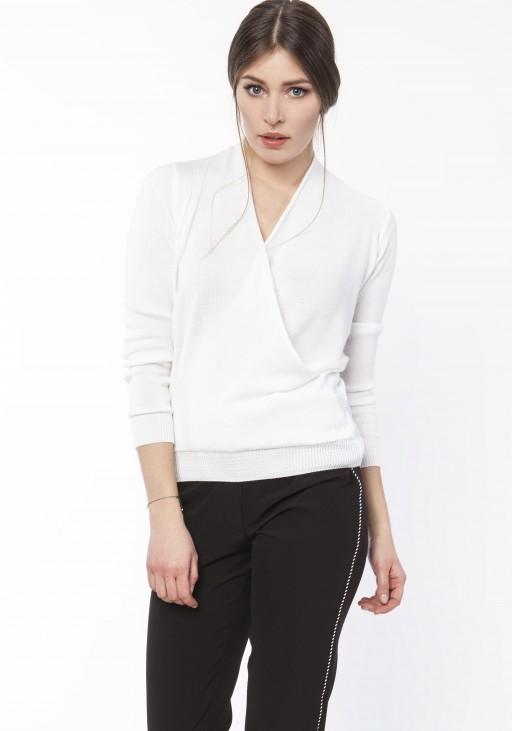 Sweter o kopertowym dekoldzie, SWE119 ecru