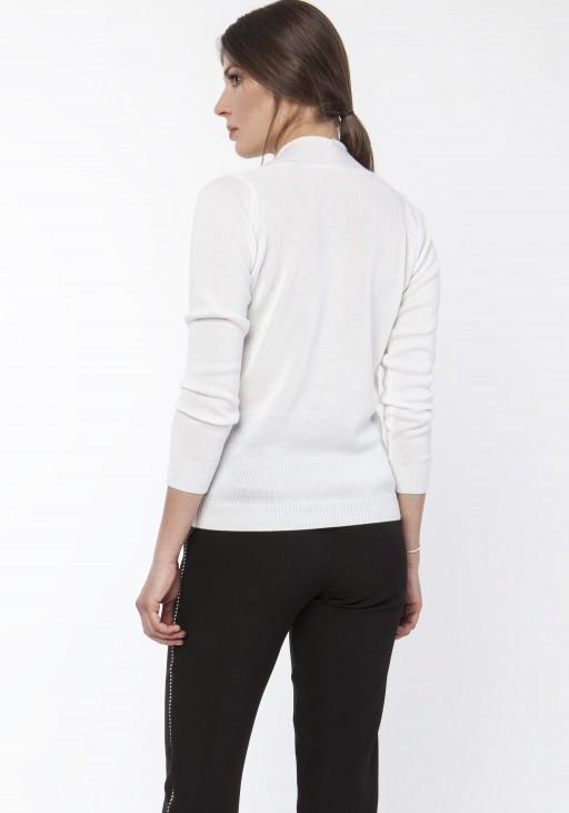 Sweter o kopertowym dekolcie, SWE119 ecru