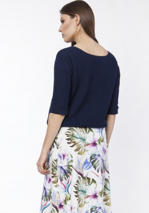 Sweater with neckline at the front or back, SWE118 navy