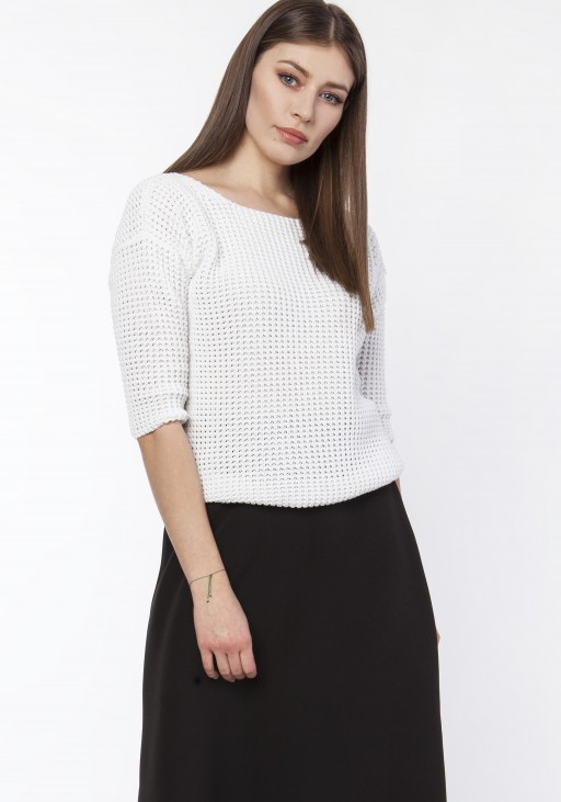 Sweater with neckline at the front or back,  SWE118 ecru
