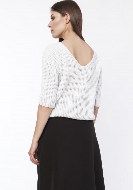 Sweter z dekoltem z przodu lub z tyłu, SWE118 ecru