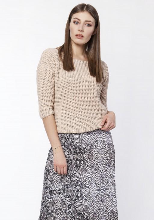 Sweter z dekoltem z przodu lub z tyłu, SWE118 beż